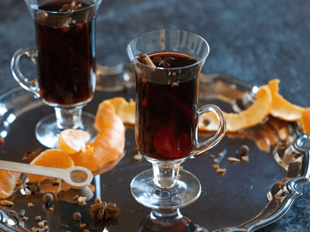 Wedding reception drinks included mulled wine