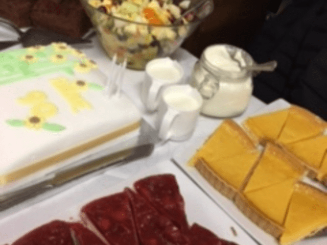 The birthday cake along with the desserts