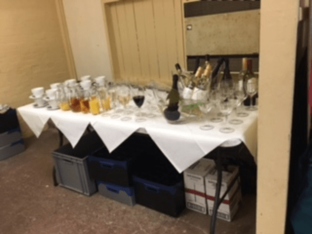 Getting ready to serve the welcome drinks
